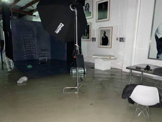 Flood water that destroyed Harsent's studio. © Simon Harsent.