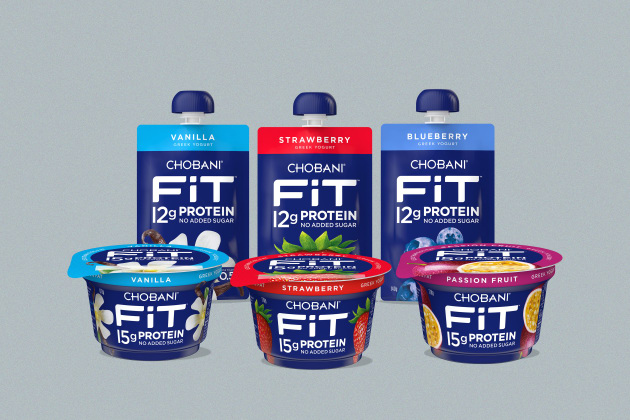 The new Chobani FiT range was developed exclusively for the Australian market. Packaging graphic design is by The Key Branding.