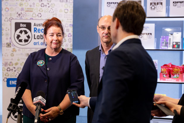 The Hon. Melissa Price, Minister for the Environment and Paul Klymenko, CEO Planet Ark, field questions from the media following the national packaging waste target announcement.
