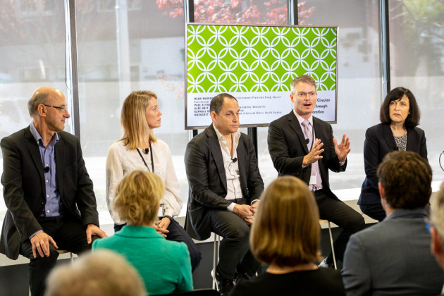 From L-R: Paul Klymenko, CEO, Planet Ark; Alex Holt, GM Quality, Health & Sustainability, Woolworths; Raphael Geminder, Chair, Pact Group; Dean Knudson, Deputy Secretary Environment Protection Group, Dept Environment & Energy; Margaret Stuart, Head of Corporate & External Affairs, Nestlé Oceania