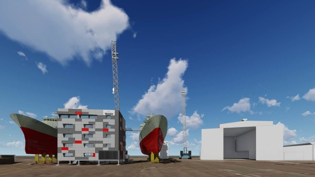 Artist's impression of the $5 million Badge Constructions shipbuilding tower to be built at Henderson. Credit: BAE Systems