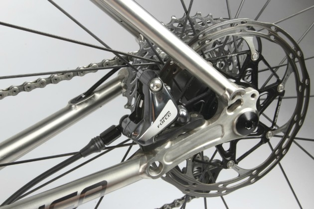 Gleaming rotors,chain and dropouts add some boutique bling to your ride.