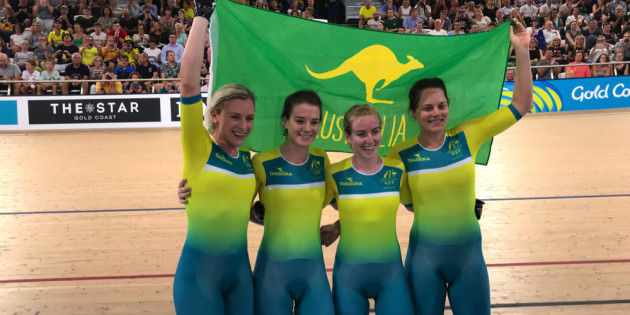 The Australian women's team beat New Zealand in the thrilling team pursuit final. Image: Cycling Australia.