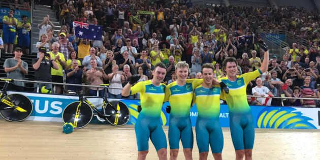 The Australian men's team victorious after smashing 3minutes 50 to set a new world record. Image: Cycling Australia