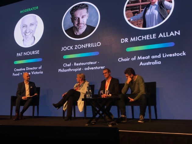 Keynote panel (L-R): Moderator, Pat Nourse, creative director of Food + Wine Victoria;  Dr Michele Allan, chairperson of Meat and Livestock Australia; Will Young, CEO and dounder of Campos Coffee; and Jock Zonfrillo, owner of Restaurant Orana and winner of the Good Food Guide's Best Restaurant Award in 2018.