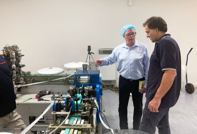 Foodmach director Peter Marks (left) says the company will modernise the machine design without risking any delay in having the machines ready for production in time.