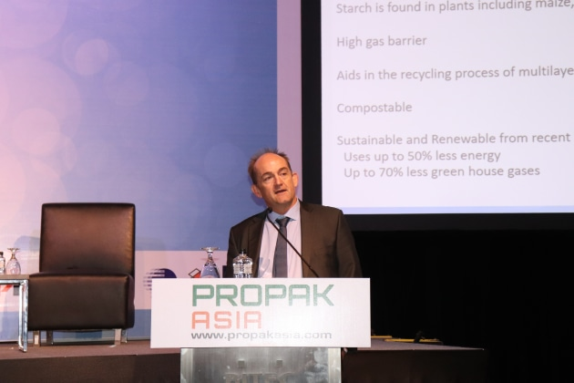 Warwick Armstrong of Plantic Kuraray speaks at the Global Packaging Forum at ProPak Asia 2019.