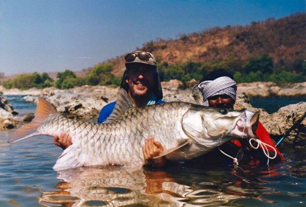 Martin's 92 lb Golden Mahseer from the River Cauvery in 1998 was the largest caught that year. Sadly much of this river is now closed to angling.