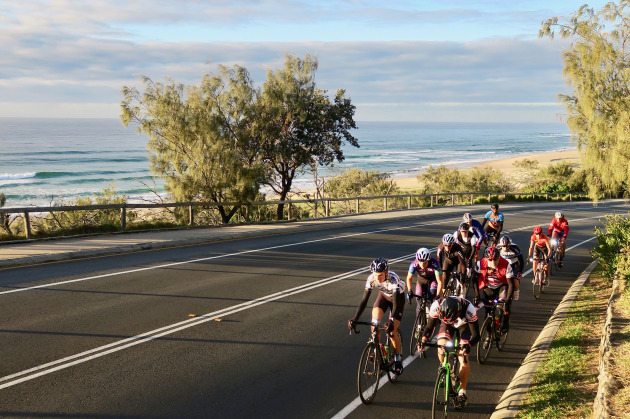 Riders make their way along the David Low Way south of Noosa, one of the region's 'must ride' roads. Image: Nat Bromhead.