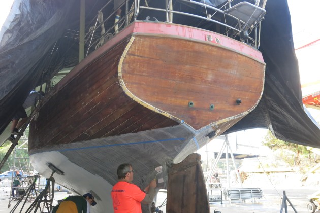 The hull has been completely refastened and is now ready for recaulking.