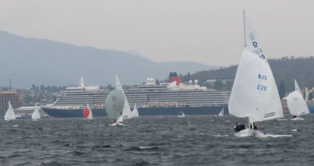 Cruise liner Queen Elizabeth provided a striking background to the Prince Philip Cup in Hobart. Photo Leigh Edwards