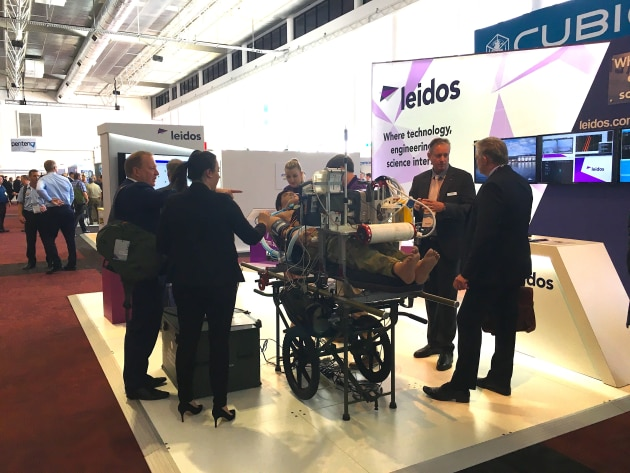 The Leidos stand at MilCis. The company will create export opportunities for Australian SMEs.
