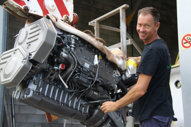 Noosa Marine's Julian Griffiths fitting the Yanmar 6LY3-ETP engine.