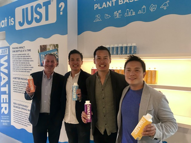Andrew Pooch with William, George and Ben Tan in the Slades Beverages showroom.
