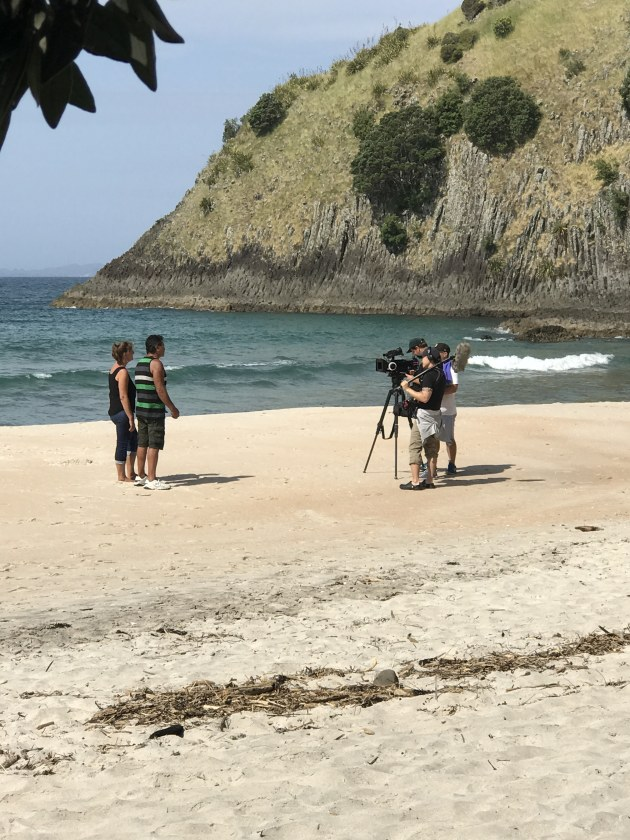 We spotted a film crew at New Chums beach.