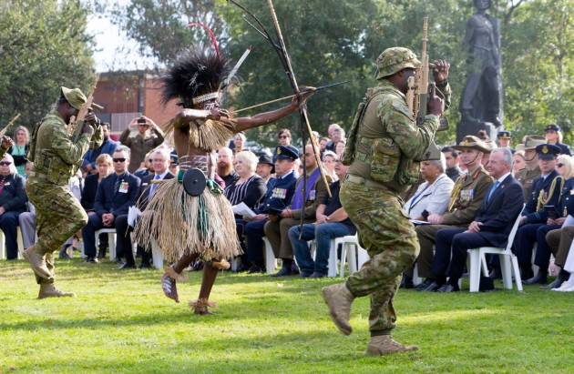 Sarpeye dancers from 51st Battalion, Far North Queensland Regiment perform at the Australian War Memorial.