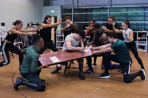 Jason Arrow (as Hamilton) and ensemble - rehearsals.