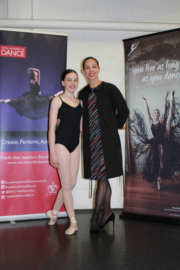 Winner of the Joan Burnett Scholarship, Sarah Gilmour, with adjudicator Leanne Stojmenov.