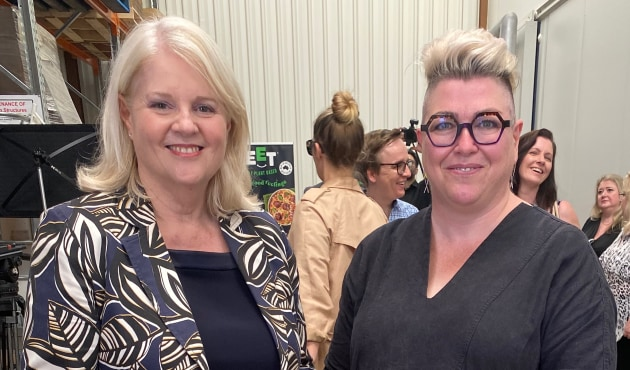 Federal Minister for Industry, Science and Technology Karen Andrews and Food & Drink Business editor Kim Berry at the launch of Proform Foods' plant protein manufacturing plant.