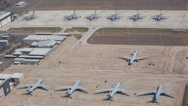 Five KC-30A Multi Role Tanker Transport aircraft from No 33 Squadron on taxiway Alpha at RAAF Base Amberley.