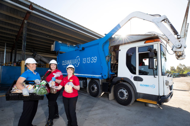 l-r Sarah van Eck, resource recovery specialist at Cleanaway, Tanya Travis, Coles regional manager, and Isabelle Renella, customer service manager at Coles Browns Plains.