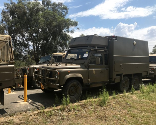 An Australian Defence Force Land Rover 6x6 Ambulance vehicle. 