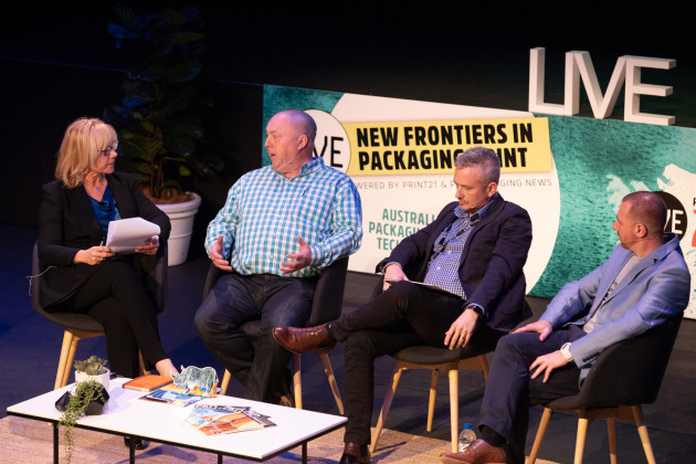 Print21 and PKN Packaging News publisher Lindy Hughson moderated a panel which included Birdstone Collective's Iain Blair, Currie Group's Mark Daws, and DreemAR's Bill Atta.