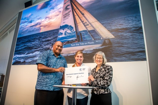New Zealand Government joins the United Nations CleanSeas campaign in Auckland Race Village. 12 March, 2018. Jesus Renedo/Volvo Ocean Race.