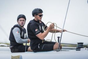 Kyle Langford (foreground) with Oman Air skipper Rob Greenhalgh. Photo Mark Lloyd/Lloyd Images/Oman Air/Extreme Series.