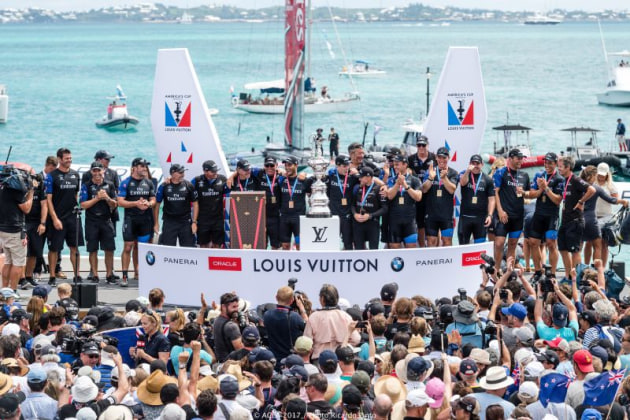 Emirates Team New Zealand wins the 35th America's Cup in Bermuda in 2017.