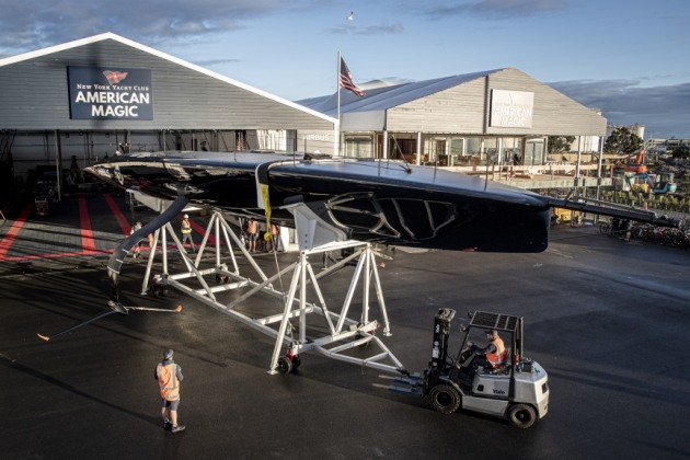 Patriot, American Magic AC75, launches in Auckland. Photo Will Ricketson, American Magic.