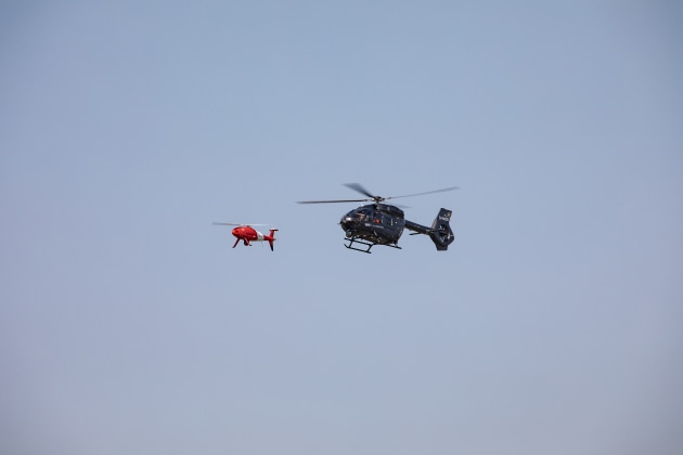 The UAS is operated by personnel in the helicopter. Credit: Airbus/Schiebel
