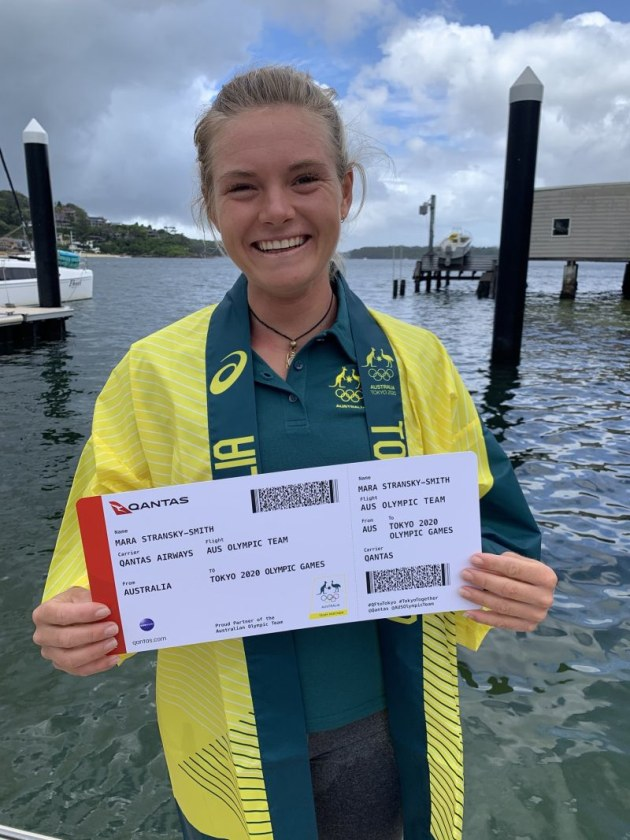 Mara DStransky with her ticket to Tokyo. Photo Australian Sailing.