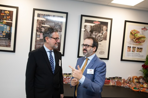 D'Orsogna Director Marco D'Orsogna (left), a son of Giovanni D'Orsogna, one of the founding brothers, discusses the company's history and future with Victorian Minister for Jobs, Trade and Innovation, Martin Pakula, after the minister had officially opened the new $66 million food manufacturing facility in Melbourne.