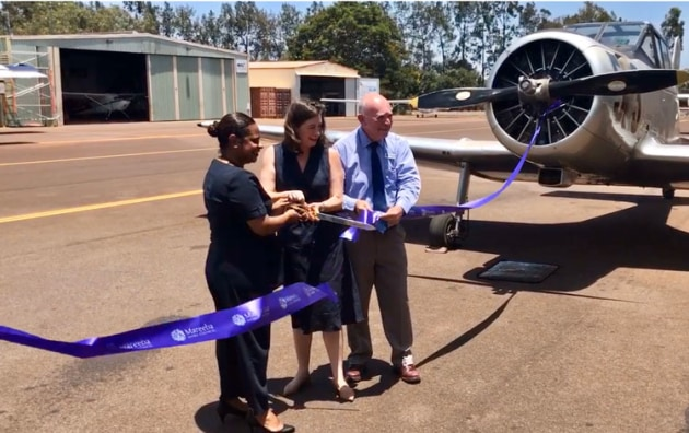 Cook MP Cynthia Liu, Senator Susan McDonald and Mareeba Mayor Tom Gilmore open the Mareeba Airport upgrade. (office of Senator McDonald)