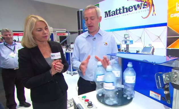 Andrew Key talks vision inspection on the Matthews stand at Foodpro 2017.