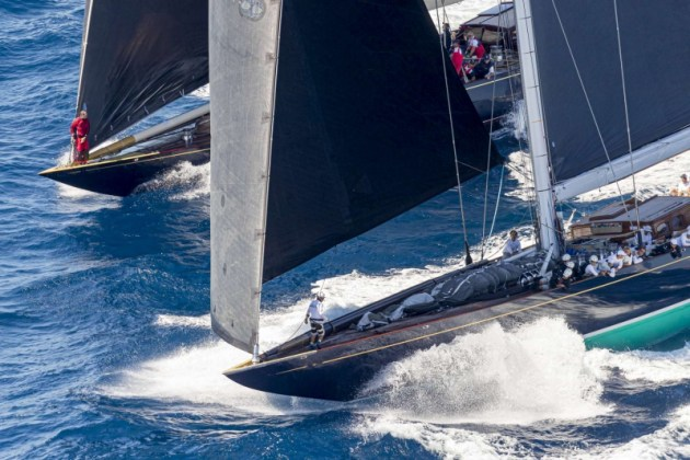 Velsheda and Topaz (Super Maxi) racing, Maxi Yacht Rolex Cup 2019. Photo Credit: Rolex/Borlenghi