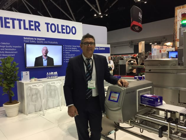 Mettler Toledo was demonstrating its newest checkweigher, the CM 3000, which is more accurate and has more features than previous models.  Visitors at the show were also showing interest in the company's service and support offerings, according to Mettler Toledo's Andy Ceshen.