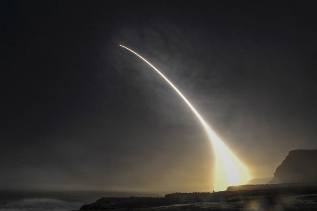 An unarmed Minuteman III intercontinental ballistic missile launches during an operational test on Vandenberg Air Force Base.