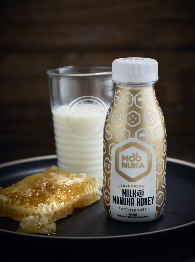 PIDA 2019 Finalist, Beverage Category: Moonuka Milk Limited for the world's first Milk and Mānuka Honey beverage designed in New Zealand in an 'old-fashioned' shape aseptic PET milk bottle with a removable PET shrink sleeve.