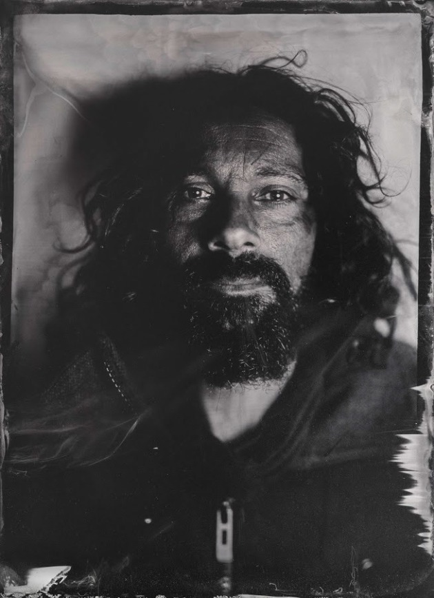 Mr Zee (Wet plate collodion image), 2017 by Scott Anthony Andrews. Justin (Mr Zee) Zahra is a creative animal specialising in metal sculpture, painting and building hot rods. He appears rough around the edges, but is one of the most gentle and giving souls you will meet.