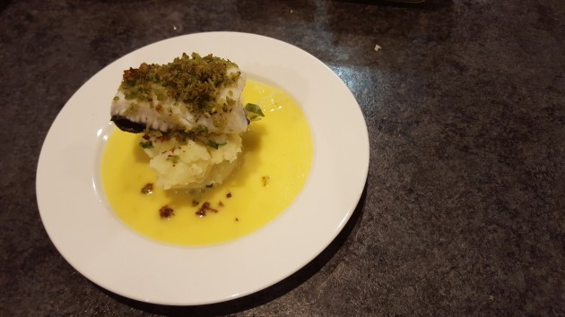 Murray Cod (Baked Murray Cod with a lemon myrtle crust, wild lime beurre blanc sauce on a bed of spring onion mash).