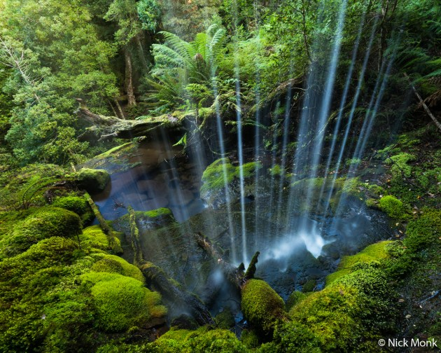 © Nick Monk. RUNNER-UP, LANDSCAPE. A small waterfall curtains the rainforest of the Great Western Tiers World Heritage Area. Great Western Tiers World Heritage Area, Tasmania.