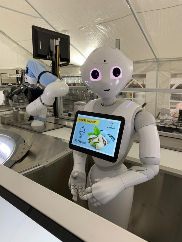 Taking the ice cream orders is cobot Pepper, developed by Japanese company Soft Bank.