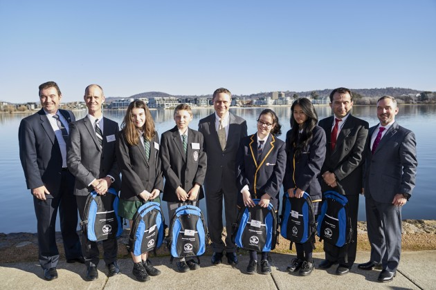 Caption: (L-R) Northrop Grumman Australia Chief Executive Ian Irving, The Canobolas Rural Technology High School teacher Matt Scott and students Ella Draper and Mark Selmes, Northrop Grumman Chairman and CEO Wes Bush, Sunshine College students Miette Petrarca and Talita Tran and teacher George Hatzikostas, and Northrop Grumman Chief Global Business Development Officer Dave Perry. 