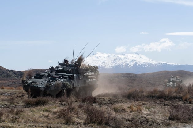 NZ's 1 Brigade on exercise in the Waiouru Training Area.