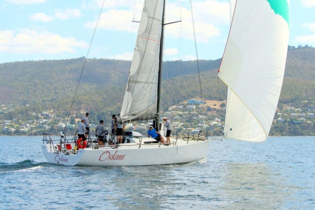 Oskana outsailed the fleet in today's Combined Clubs Winter Series race. Photo Peter Watson.