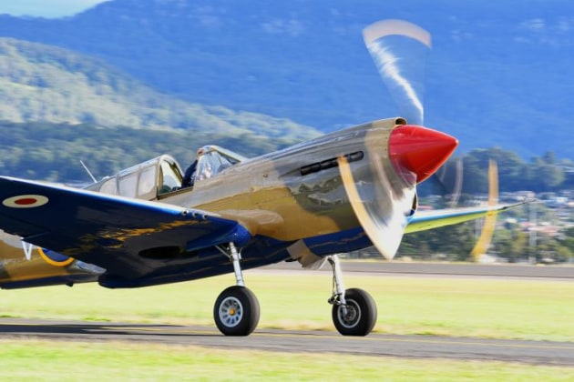 Ross Pay's P-40 taxis out to join the fighter formation. (Steve Hitchen)