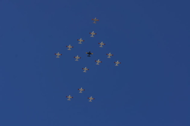 The military portion of the formation shows how precisely the parrot can be flown.