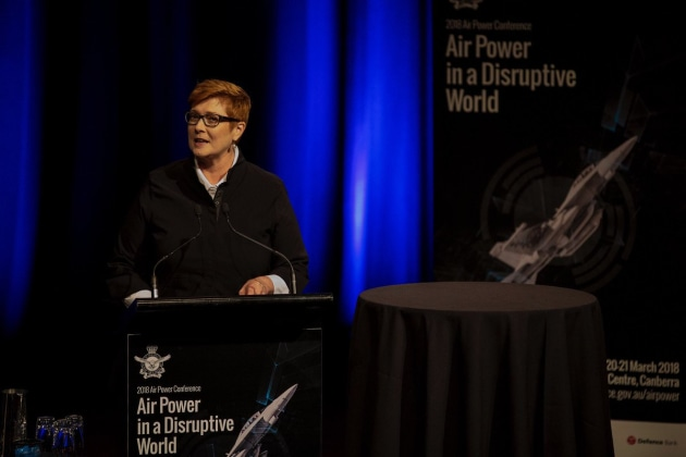 Defence Minister Marise Payne speaking at Air Power 2018. Credit: @Marise Payne via Twitter